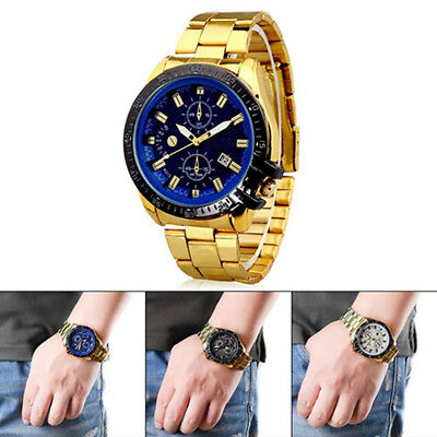 Men's Fashion Stainless Steel Quartz Analog Wrist Watch Roman Numerals Magic