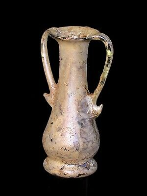 Elegant Glass Cosmetic Amphora with nice Patina