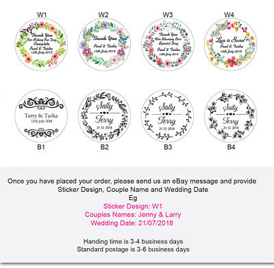 Personalised Circle Wedding Bomboniere Paper Envelope Sticker Labels 40mm wide