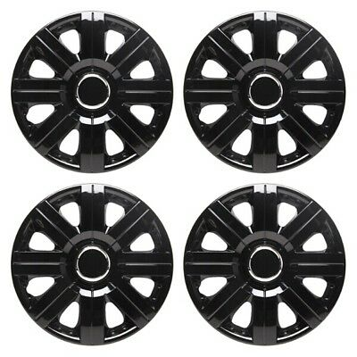 Torque 15 Inch Wheel Trim Set Gloss Black Set of 4 Hub Caps Covers By TopTech