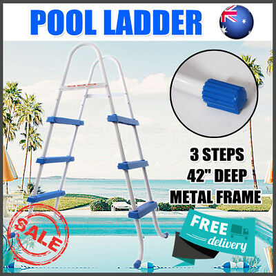 """OZ Safety Ladder Above Ground Swimming Pool 36"""" 42"""" with Removable Non-Slip Step"""