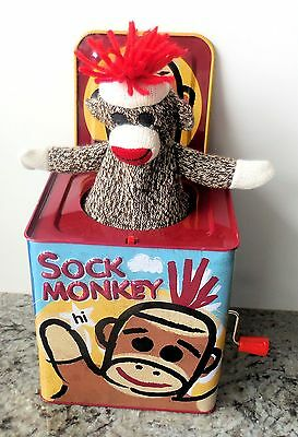 """Schylling - Sock Monkey Tin Toy Jack in the Box """"Pop Goes the Weasel"""" (EUC)"""