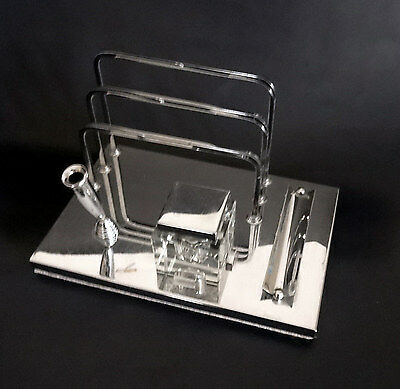 French Art Deco/Modernist Chrome Desk Set with Crystal Inkwell – Deskware