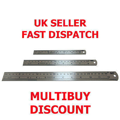 Stainless Steel Ruler Rule 15cm 20cm 30cm - Metric Imperial Readings Extra Thick