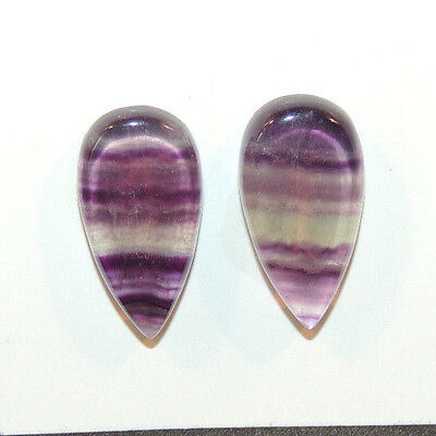 Fluorite Cabochons 21x11mm with 4mm dome set of 2 (12144)