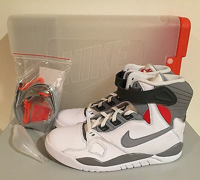 2109e1b0e487 NEW Nike Air Pressure Basketball Shoes Retro White Grey Red 831279 100 Size  10
