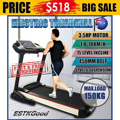 New 3.5HP Electric Treadmill Exercise Equipment Machine Quiet Fitness Home Gym