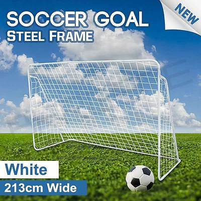 2 x 213cm Soccer Goal Frame Portable Football Net Polyester Steel No Ball Goals