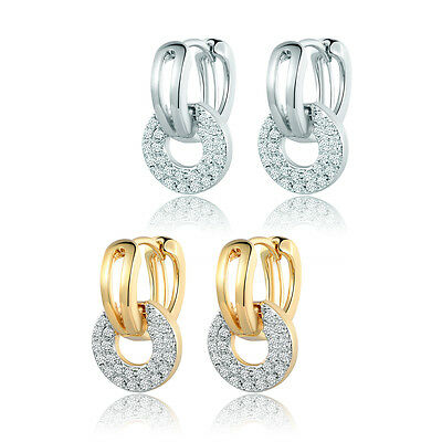 HUCHE Fashion Clear Topaz Sapphire Crystal 18K Gold Filled Women Lady Earrings