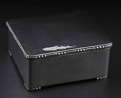 A. Dragsted Hammered Silver Box, Three Towers, 1924, MADE IN DENMARK. RARE!