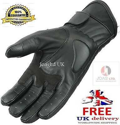 Leather Motorbike Screen Touch Gloves Knuckle Shell Protection Vented Summer