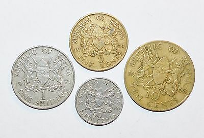 1966 - 1980 KENYA 50 10 5 CENTS 1 SHILLING lot coins animal LIONS foreign large