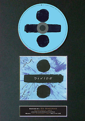 ED SHEERAN Divide Album Signed CD Mounted Autograph Photo Prints A4 75