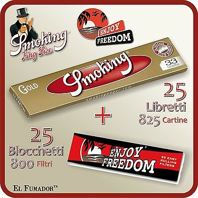 825 Cartine SMOKING GOLD SLIM LUNGHE + FILTRI CARTA ENJOY FREEDOM - 25 Libretti
