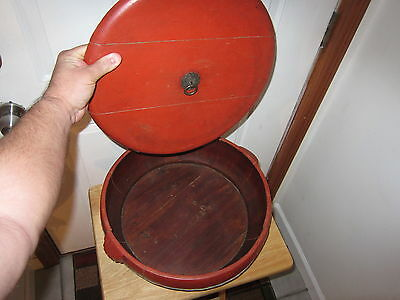 EARLY 1900s ASIAN RED WOODEN RICE BASKET OR BOWL with MARKINGS 16 BY 16 INCHES