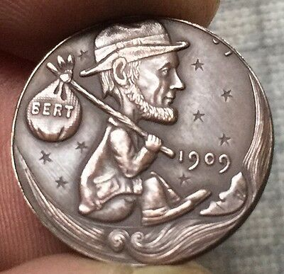 Hobo Coin Art 1909 Lincoln Penny  WITH HAT CARRYING SACK WITH BERT