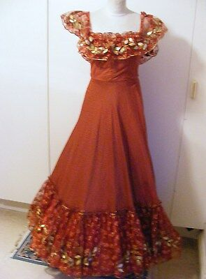 Vintage Edwardian theatrical costume bustle dress ballgown burgundy & red lace