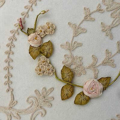 Antique French Ribbon Roses Buds Leaves