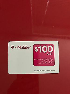T mobile $100 refill prepaid(pay as you go) card, new unscratched, fast delivery
