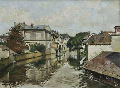 Rene Schmid Tableau Loing Paysage Nemours Impressionniste French Painting River