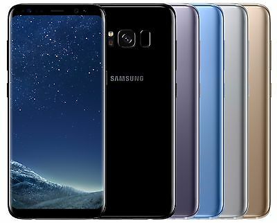 "Samsung Galaxy S8 SM-G950F (FACTORY UNLOCKED) 5.8"" 64GB Black Silver Gold Blue"