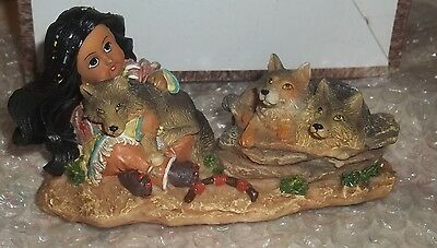 """Girl with Wolves Resin Figurine 3"""" x 5"""" BRAND NEW IN THE BOX"""