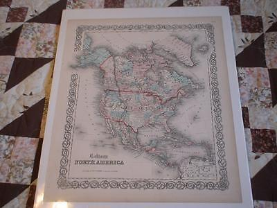 Antique Colton's Atlas 1859 North America Hand Colored Map No. 2