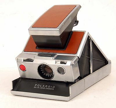 Vintage Polaroid SX-70 Stainless Steel Leather Model with Case & Accessories