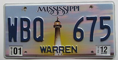 Mississippi 2012 WARREN COUNTY LIGHTHOUSE License Plate NICE # WBQ 675