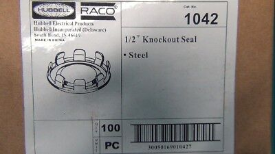 HUBBELL/RACO 100pcs  SEAL KNOCKOUT SNAPIN STEEL 1/2 INCH PART NUMBER 1042