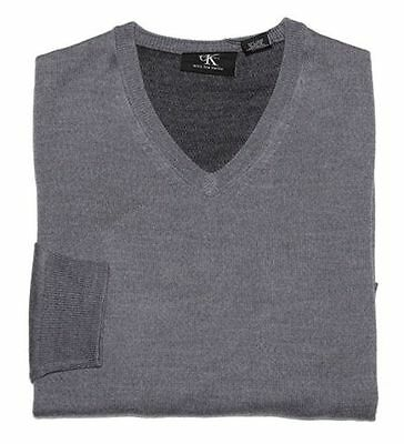 New Calvin Klein Mens V-Neck Merino Wool Pullover Sweater Gray Size M