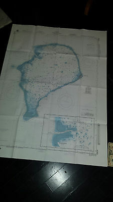 Antique Vintage   US Navy  Nautical Chart   Aeronautical Map   Funafuti Atoll