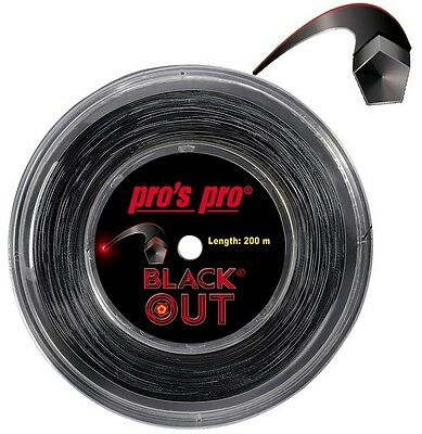 Pro's Pro Blackout Tennis String 200m Reel - 1.24mm (Black)