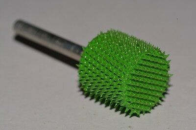 "Saburr Tooth Wood Carving Tool Green 1/8"" Shank Cylinder 1/2"" Coarse Grit NEW"