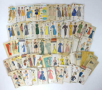 Lot of 58 Vtg 50s 60s 70s Antique Sewing Patterns Butterick McCalls Simplicity