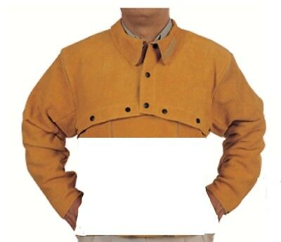 Welding Leather Cape Sleeve with 20″ Bib Split Cowhide riveted seams XX Large