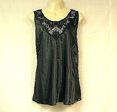 CINEMA ETOILE Top NEW XL L Gift? Black Satin NWT Lace Shell Sleeveless Camisole