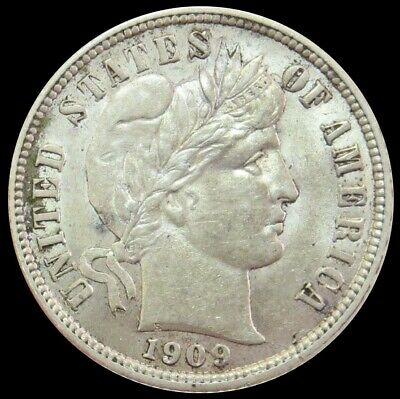 1909 Silver United States Barber Dime Coin About Uncirculated Condition