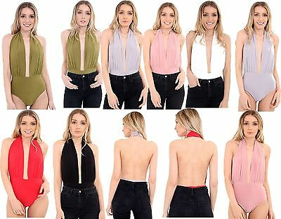 Ladies Plain Halter Neck Backless Slinky Leotard Bodysuit Plunge Stretch Top