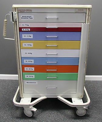 "Armstong Medical A-Smart Premier 30"" Aluminum Broselow ColorCode Cart"