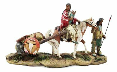 Resin Native American Indian Family With Horse Migrating Figurine Statue