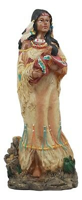 Resin Sculpture Rare Native American Indian Mother & Baby Figurine Statue