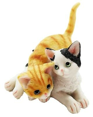 Resin Cat Two Playful Kittens Kitty Cats Figurine Animal Small Statue