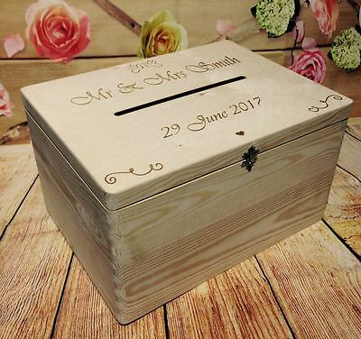 Personalised Wedding Cards Post Box Drop in Guests Wish Wooden Box with Slot