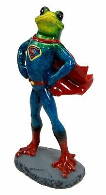 """Superman Toad Green Frog In Caped Outfit Figurine Statue 8"""" Height Sculpture"""