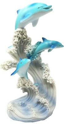 "Ocean Fish Dolphin Family Riding Waves Figurine Collectible 6.75"" Height"