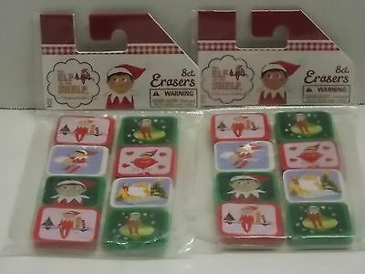 (2) The Elf On The Shelf 8 Ct. Erasers Total: 16 Erasers *new* *free Shipping*