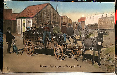 TONOPAH, NEVADA, Hand Colored Post Card Nye County1907 BURROW FAST EXPRESS