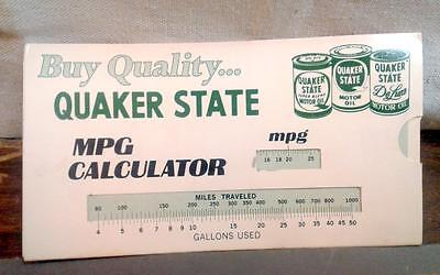 VTG Quaker State Slide Rule Paper Calculator Advertising MPG Miles Gallons Used