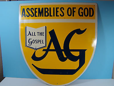 Vintage Assemblies of GOD Metal Sign 1960s 1970s Religious Collectible
